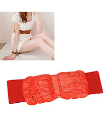 Velvet Red Frills Multilayer Bow Elastic Width PU Wide belts