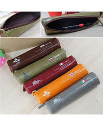 Colorful Brown Simple Retro Design PU Pencil Case Paper Bags