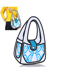 Memorable Blue 3D Stereoscopic Effect Design PVC Handbags