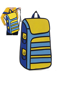 Simple Yellow Stereoscopic Effect Design PVC Backpack