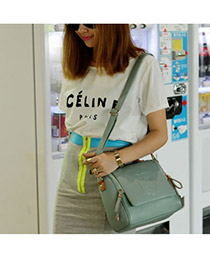 Fashion Khaki Embroidery Letter Decorated Color Matching Shoulder Bag