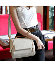 Trendy Black Buckle Decorated Pure Color Simple Shoulder Bag