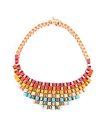 Luxury Green Geometric Gemstone Decorated Hollow Out Collar Necklace