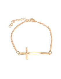 Montgomery Gold Color Cross Design Alloy Korean Fashion Bracelet