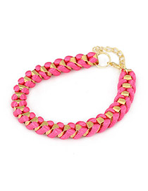 Double Plum Red Personality Weave Design Alloy Korean