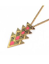 Graduation Bronze Multi Triangle Pendant Alloy Korean Necklaces