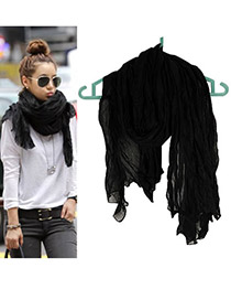 Fashion Black Tassel Decorated Pure Color Design Simple Scarf