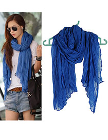 Fashion Blue Pure Color Decorated Scarf