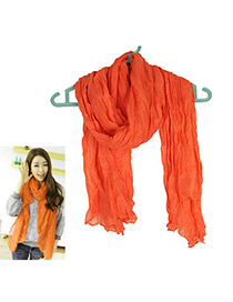 Embossed red Orange Fold Design Cotton Thin Scaves
