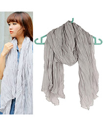 Fashion Dark Gray Embroidery Flower Decorated Scarf