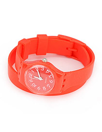 Outdoor Red Candy Color Double Layer Watchband Alloy Fashion Watches