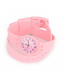 Monogramme Pink Andy Color Double Layer Watchband Alloy Fashion Watches