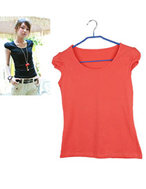 Trendy Green O Shape Neckline Design Pure Color Short Sleeve Shirt