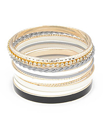 Fancy Black Multilayer Alloy Fashion Bangles