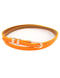 Correspond Orange Cany Color Pu Leather PU Thin belts