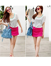 Fashion White Pure Color Design High-waisted Patchwork Mini Chiffon Fishtail Skirt
