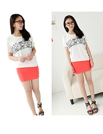 Fashion White Grid Decorated Pure Color Simple Bubble Chiffon Skirt