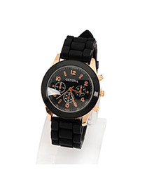 Fashion Black Printing Flower Pattern Decorated Simple Watch
