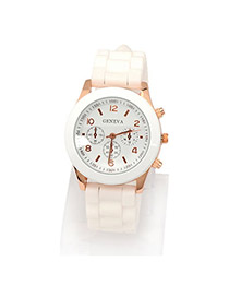 Sweet White Diamond Uicksand Decorated Pure Color Strap Design Pu Ladies Watches