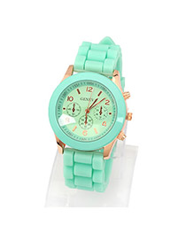 Fashion Green+white Flower Shape Pattern Decorated Watch