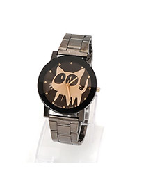 Bardian Black&gold Color Gear Pattern Decorated Hollow Out Design Alloy Men's Watches