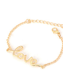 Fashion Gold Color Round Shape Diamond Decorated Simple Hollow Out Bracelet