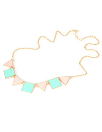 Hip Hop Blue Triangle Square Alloy Korean Necklaces
