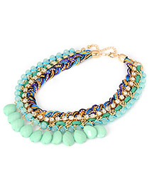 Cardboard Green Braided Rope Acrylic Drop Pendant Acrylic Korean Necklaces