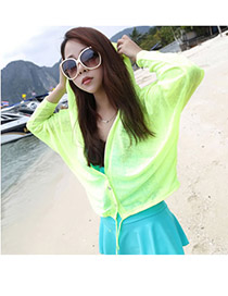 Casual Yellow Scrawl Pattern Decorated Three Quarter Sleeve Bikini Cover Up Smock