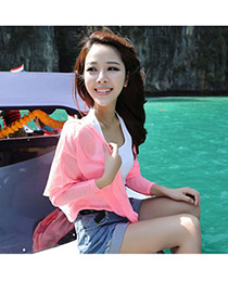 Fashion pink Ox-head Pattern Decorated Batwing Sleeve Simple Bikini Cover Up Smock