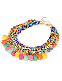 Engagement Multicolour Braided Rope Acrylic Drop Pendant Acrylic Korean Necklaces