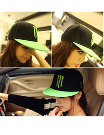 Fashion Black Letter Boy Pattern Decorated Pure Color Hip-hop Cap