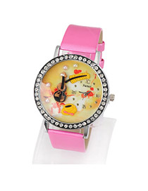 Lightning Plum Red Violin PU Fashion Watches