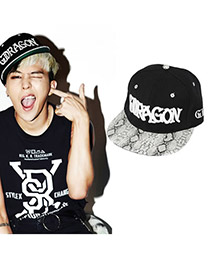 Fashion Black Letter Pattern Decorated Pure Color Sunshade Sport Cap