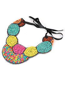 Cardboard Multicolour Handmand Bead Fake Collar