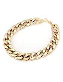 Wishbone Gold Color Simple Thick Chain