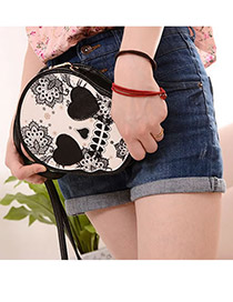 Fashion Black Buckle Shape Decorated Pure Color Bag