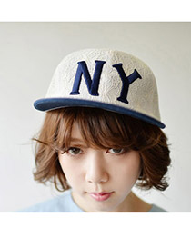 Fashion White Pure Color Decorated Simple Baseball Cap