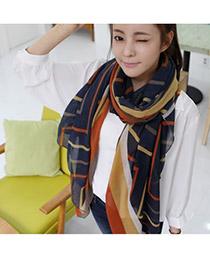 Inspiratio Dark Blue Stripe Pattern Alloy Fashion Scarves