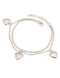 Rachel Silver Color Heart Pendant  Design Alloy Fashion Anklets