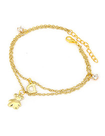 Lariat Gold Color Bear Pendant Design Alloy Fashion Anklets