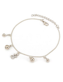 Cardboard Silver Color Little Bear And Balls With Full Diamond Design Alloy Fashion Anklets