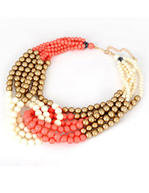 Noble Orange Multicolor Beads Alloy Korean Necklaces