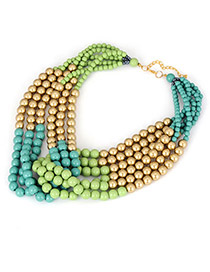 Bohemia Multi-color Geometric Shape Pendant Decorrated Multilayer Necklace