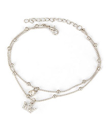 Rent Antique Silver Crown Pendant Alloy Fashion Anklets