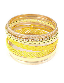 Locket Yellow Hollow Out Multilayer Alloy Fashion Bangles