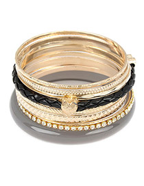 Alternativ Black Elegant Pendant Multilayer Alloy Fashion Bangles