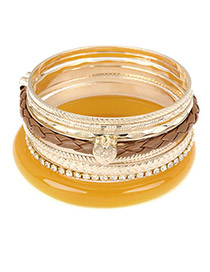 Lariat Brown Elegant Pendant Multilayer Alloy Fashion Bangles