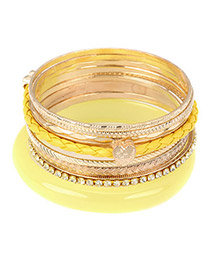 Colorful Yellow Elegant Pendant Multilayer Alloy Fashion Bangles