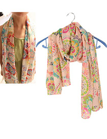 Collar Pink Sunflower Pattern Chiffon Fashion Scarves